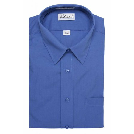 Classic Mens Dress Shirt Long-Sleeve Button Shirt (With Neck - Dress Shirt Neck Size