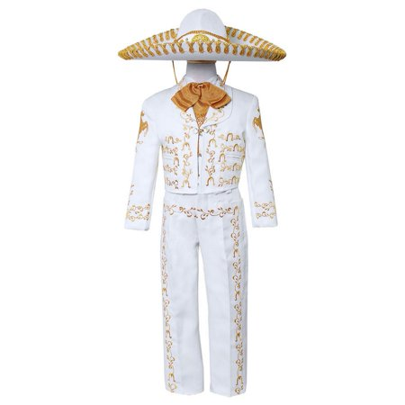 Boys White Gold Embroidered Mariachi Pants Jacket Hat - Mariachi Outfits