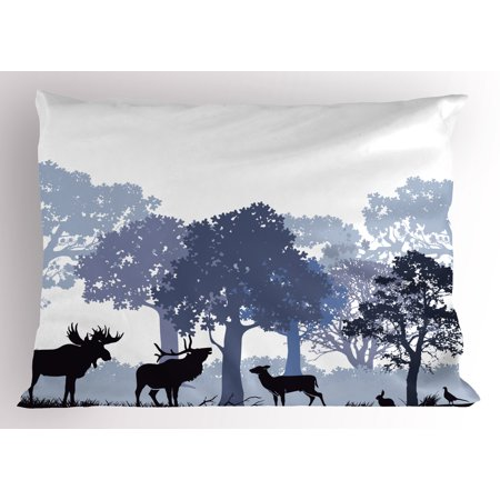 Moose Pillow Sham Forest Design Abstract Woods North American Wild Animals Deer Hare Elk Trees, Decorative Standard Size Printed Pillowcase, 26 X 20 Inches, Black White Grey, by Ambesonne