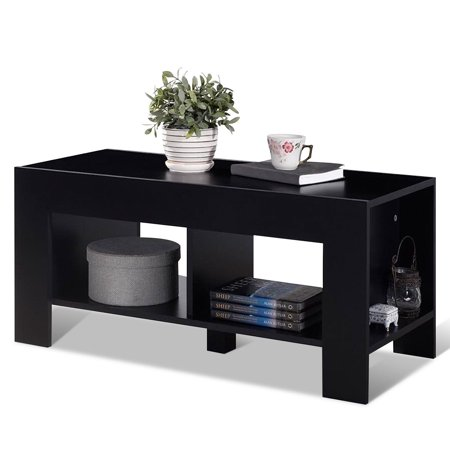 Costway 2-Tier Wood Coffee Table Sofa Side Table w/ Storage Shelf Living Room Office New ()