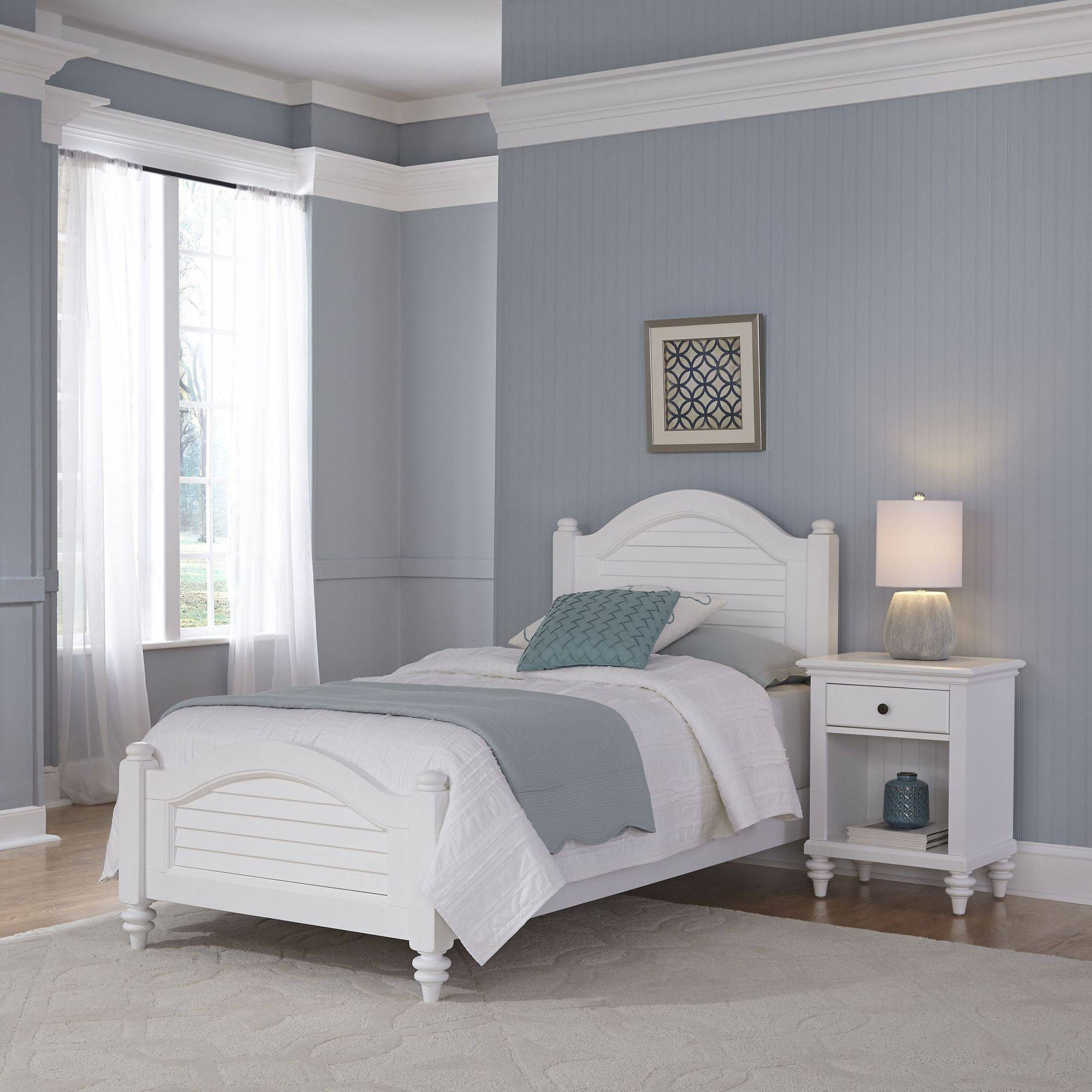 Home Styles Furniture Bermuda White Twin Bed and Night Stand ...
