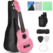 Basswood Ukulele 21inch Starter Kit for Beginner with Gig Bag, Clip-on Tuner, Kids Ukulele Uke Hawaii Mini Guitar for Kids Adults and Beginners