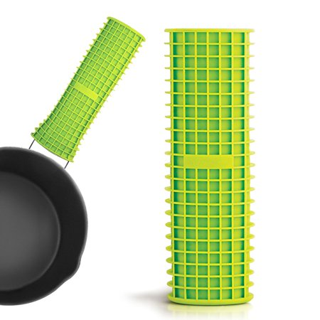 - INNOKA Silicone Soft Non-slip Non-stick Grid Cell Handle for Most Pots & Pans Handles - Green