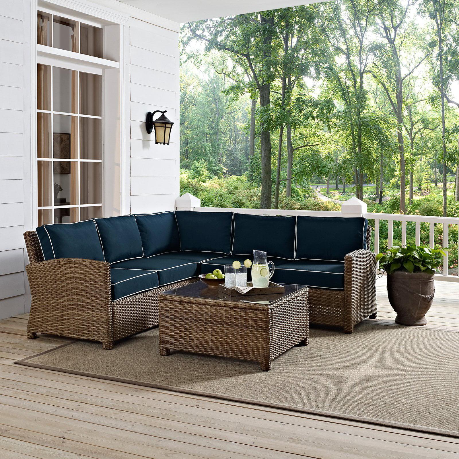 Crosley Furniture Bradenton 4 Piece Outdoor Wicker Seating Set