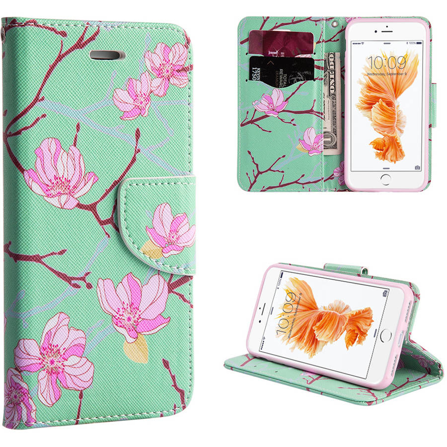 MUNDAZE Flowers Wallet Case for Apple iPhone 7, Mint Pink