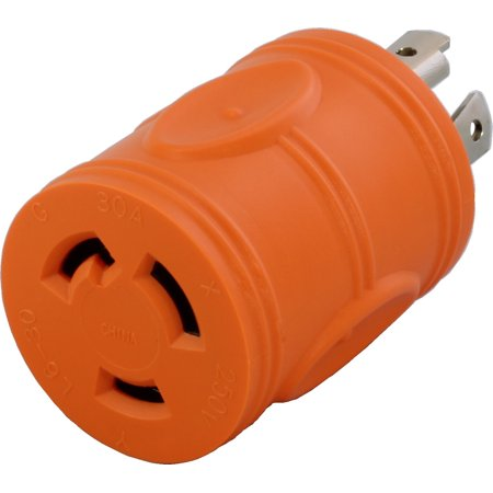AC WORKS [ADL1430L630] 4Prong 30Amp 125/250Volt NEMA L14-30P Locking Plug to L6-30R 30Amp 250Volt Locking Female Connector