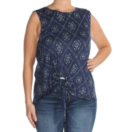 LUCKY BRAND Womens Navy Printed Tie Waist Top  Size: L Maternity Sleeveless Tie