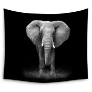 POPCreation Black And White Elephant Hippie Bohemian Indian Wall Hanging Tapestry Wall Art Tapestry 51x60 Inches