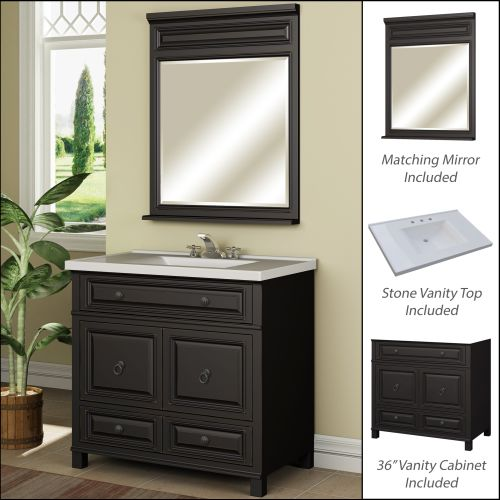 "Miseno MVBH36COM 36"" Bathroom Vanity Set - Cabinet, Stone Top and Mirror Included"