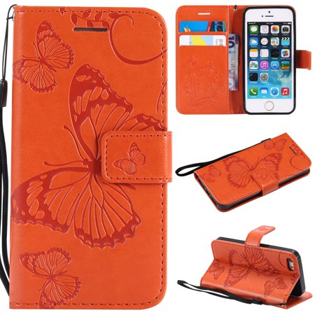 iPhone 5S Case,iPhone 5 Case,iPhone SE Wallet case, Allytech Pretty Retro Embossed Butterfly Flower Design Pu Leather Book Style Wallet Flip Case Cover for Apple iPhone 5/ 5S / SE, Orange ()