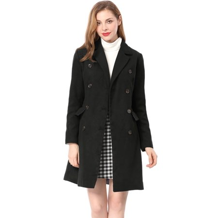 Cotton Notched Collar Coat (Women's Notched Lapel Double Breasted Trench Coat)