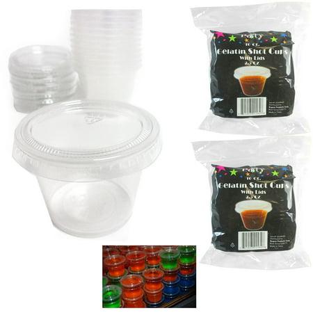 32 X Jello Shot Glasses Lids 2.5 Oz Souffle Portion Cups Clear Plastic Bulk](Halloween Jello Shots And Drinks)
