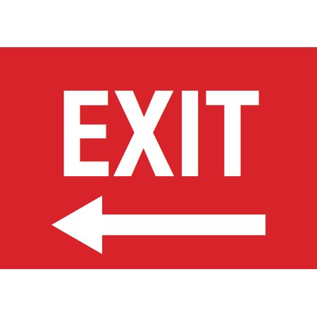 Exit Left Arrow Red Sign - Door Directional Signs - Plastic (Directional Sign)