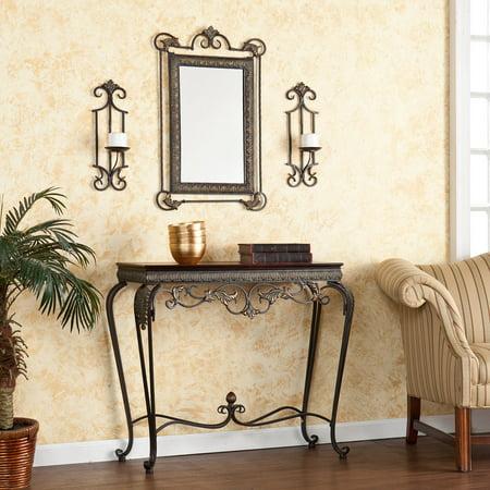 Southern Enterprises Adisa Sconce / Mirror / Console Table 4 Piece Set - Aged Bronze Patina ()