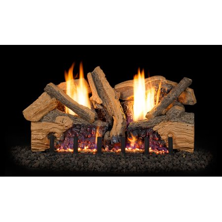 Peterson Real Fyre 30-inch Foothill Split Oak Log Set With Vent-free Propane Ansi Certified G19 Burner - Variable Flame Remote ()