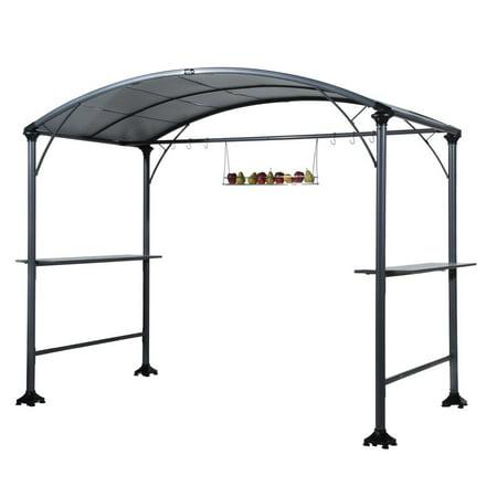Abba Patio 9 x 5-Ft Outdoor Backyard BBQ Grill Gazebo with Steel Canopy, Gray