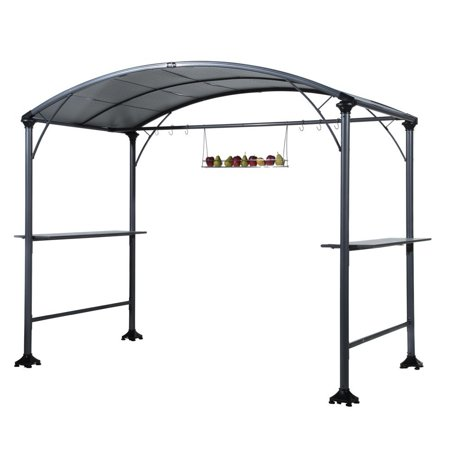Abba Patio Outdoor Backyard Bbq Grill Gazebo Steel Canopy Gray