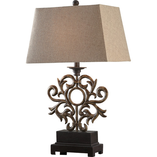 Belle 37.5-Inch Large Buffet Lamp, Iron and Distressed Wood