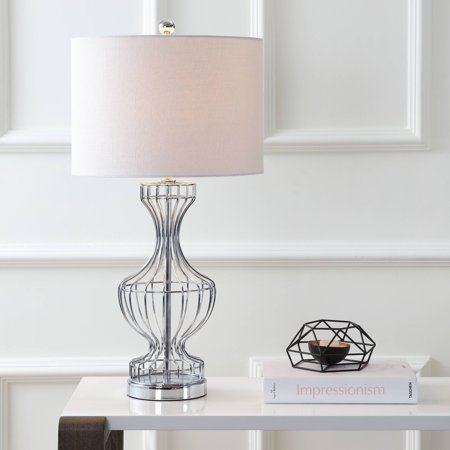 """Honore 28"""" Metal Wire Frame LED Table Lamp, Chrome"""