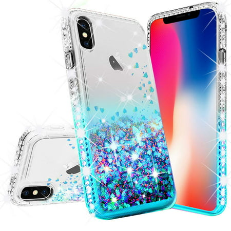 Apple iPhone XR Case Glitter Bling Liquid Floating Quicksand Sparkle with [Tempered Glass] Shock Proof Phone Case Protective for Girls Women - Aqua