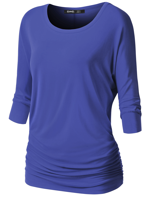 Thanth Womens Dolman Sleeves Boat Neck Solid Shirring Drape Basic Tunic Top