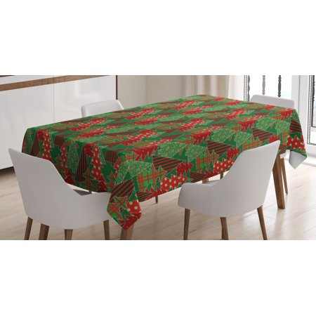 Christmas Tablecloth, Abstract Pines with Swirls Dots Lines Design Patchwork Style Print, Rectangular Table Cover for Dining Room Kitchen, 52 X 70 Inches, Dark Green Red Dark Coral, by Ambesonne