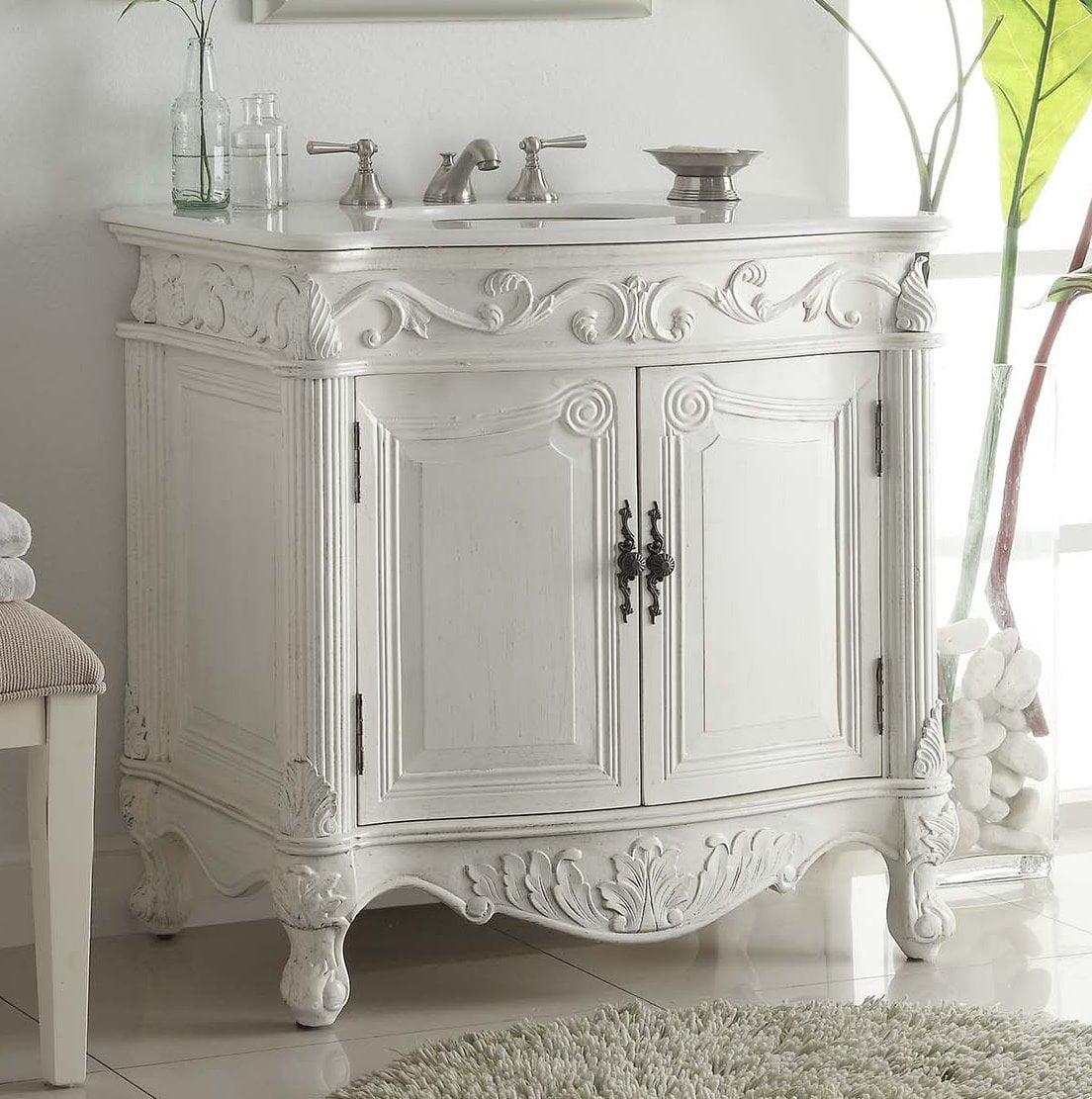 32 Benton Collection Fiesta Antique Victorian Classic Style White Bathroom Vanity Cf 2873w Aw Walmart Com Walmart Com