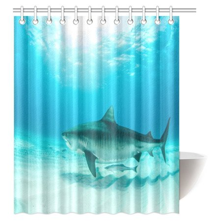 MYPOP Sea Animal Decor Shower Curtain, Tiger Shark Diving on the Bottom of Water Danger Icon Wild Life Jaws Symbol Bathroom Shower Curtain with Hooks, 60 X 72 Inches