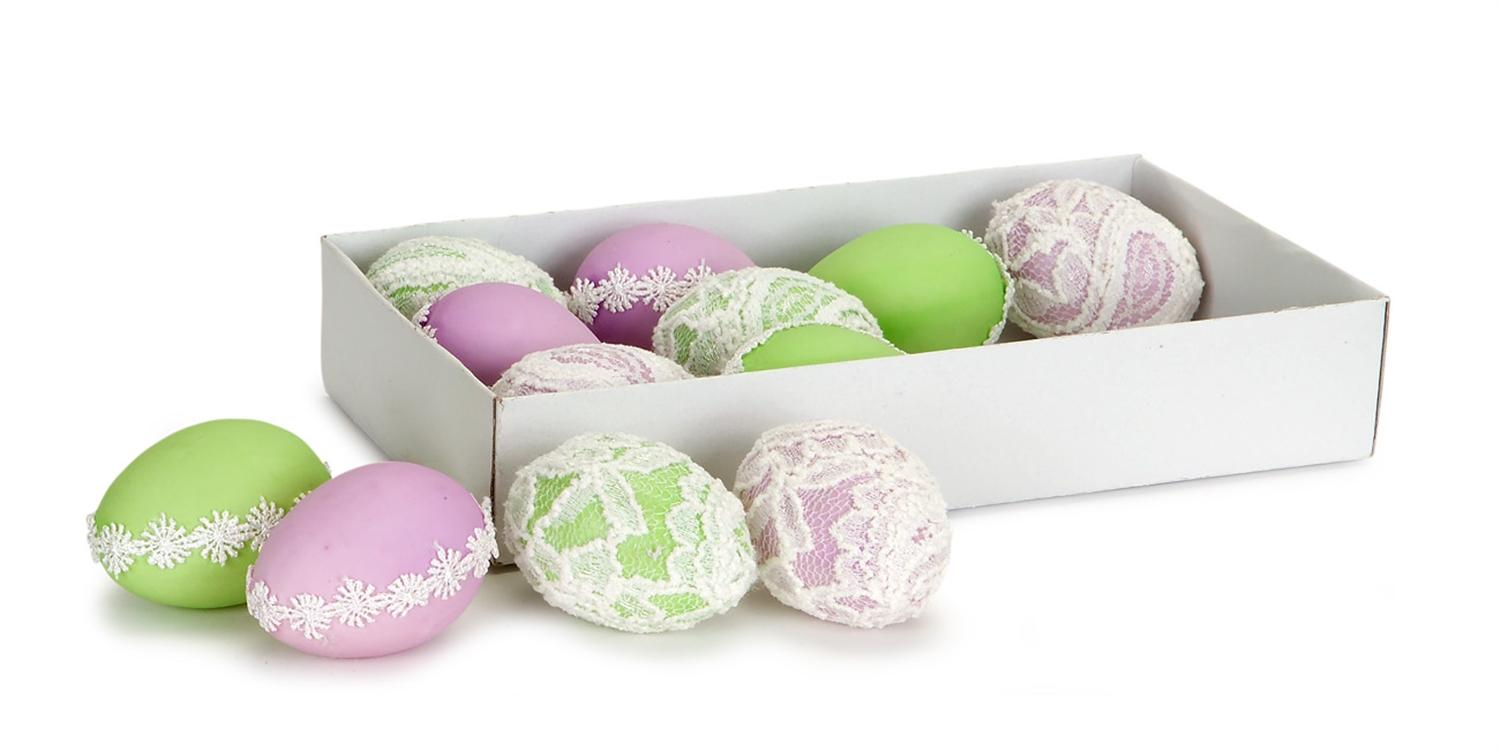 Club Pack of 72 Green and Lilac Purple Artificial Lace Easter Egg Decorations... by Melrose