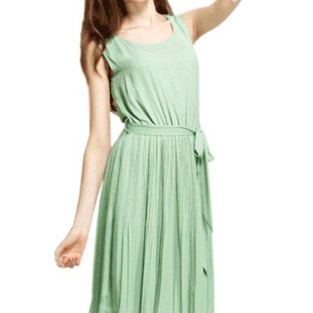 Womens Sleeveless Vest Slim Solid Pleated Halter Chiffon Dress Green
