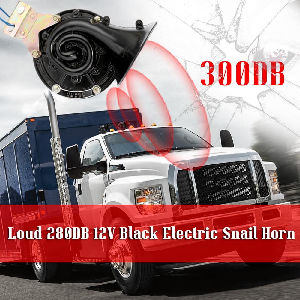 Loud 300DB 12V//24V Black Electric Snail Horn Air Horn Raging Sound For Car Motorcycle Truck Boat
