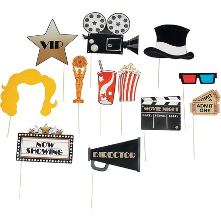 12 Paper Movie Night Photo Booth Stick Props Grammys Oscar Golden Globes Party - Photo Booth Sticks