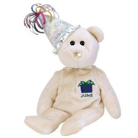 TY Beanie Baby - JUNE the Teddy Birthday Bear (w/ hat)