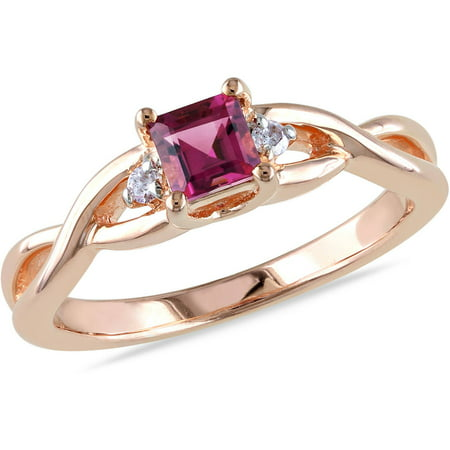 1/3 Carat T.G.W. Square-Cut Pink Tourmaline and Diamond Accent Pink Rhodium over Sterling Silver Cross-Over Ring