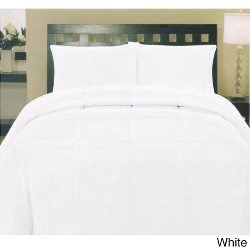 Plush Solid Color Box Stitch Down Alternative Comforter White - Queen