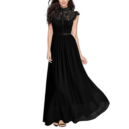 Women Lace Chiffon Formal Wedding Bridesmaid Dress Lace Summer Sleeveless Evening Cocktail Party Prom Ball Gowns