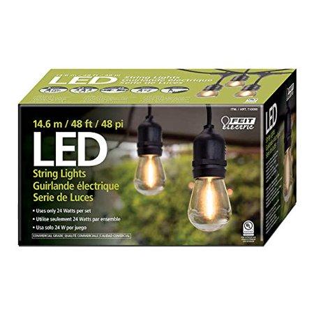 Feit Outdoor Weatherproof String Light Set 48ft 24 Sockets W 26 Led Bulbs