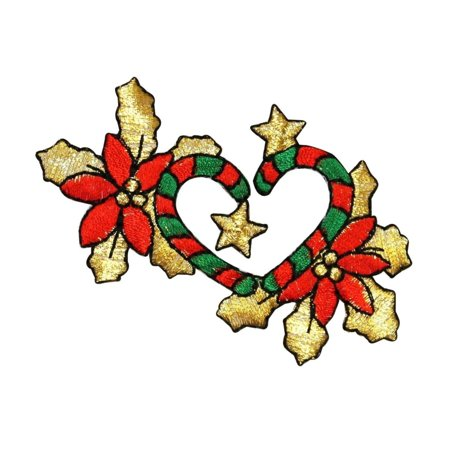 ID 8091 Candy Cane Heart Decoration Patch Christmas Embroidered Iron On Applique - Candy Cane Heart