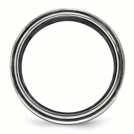 Edward Mirell Black Ti & Titanium Polished White Sapphire Beveled Ring Size 10.5 - image 1 de 3
