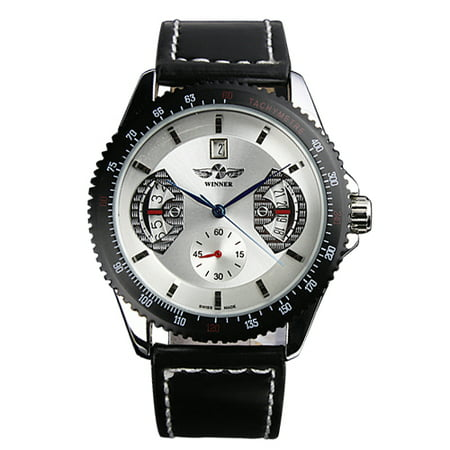 White Dial Automatic Mens Watch Date Display Self-winding Black Leather