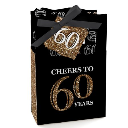 Adult 60th Birthday - Gold - Birthday Party Favor Boxes - Set of 12