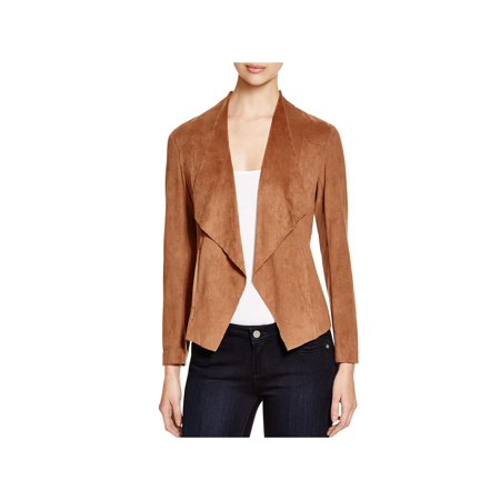 Alison Andrews Womens Lincoln Draped Front Faux Suede Open-Front Blazer - Fully Lined Suede Blazer