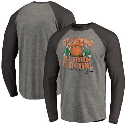 Clemson Tigers Fanatics Branded College Football Playoff 2016 Fiesta Bowl Bound Prime Raglan Long Sleeve T-Shirt - Heather Gray