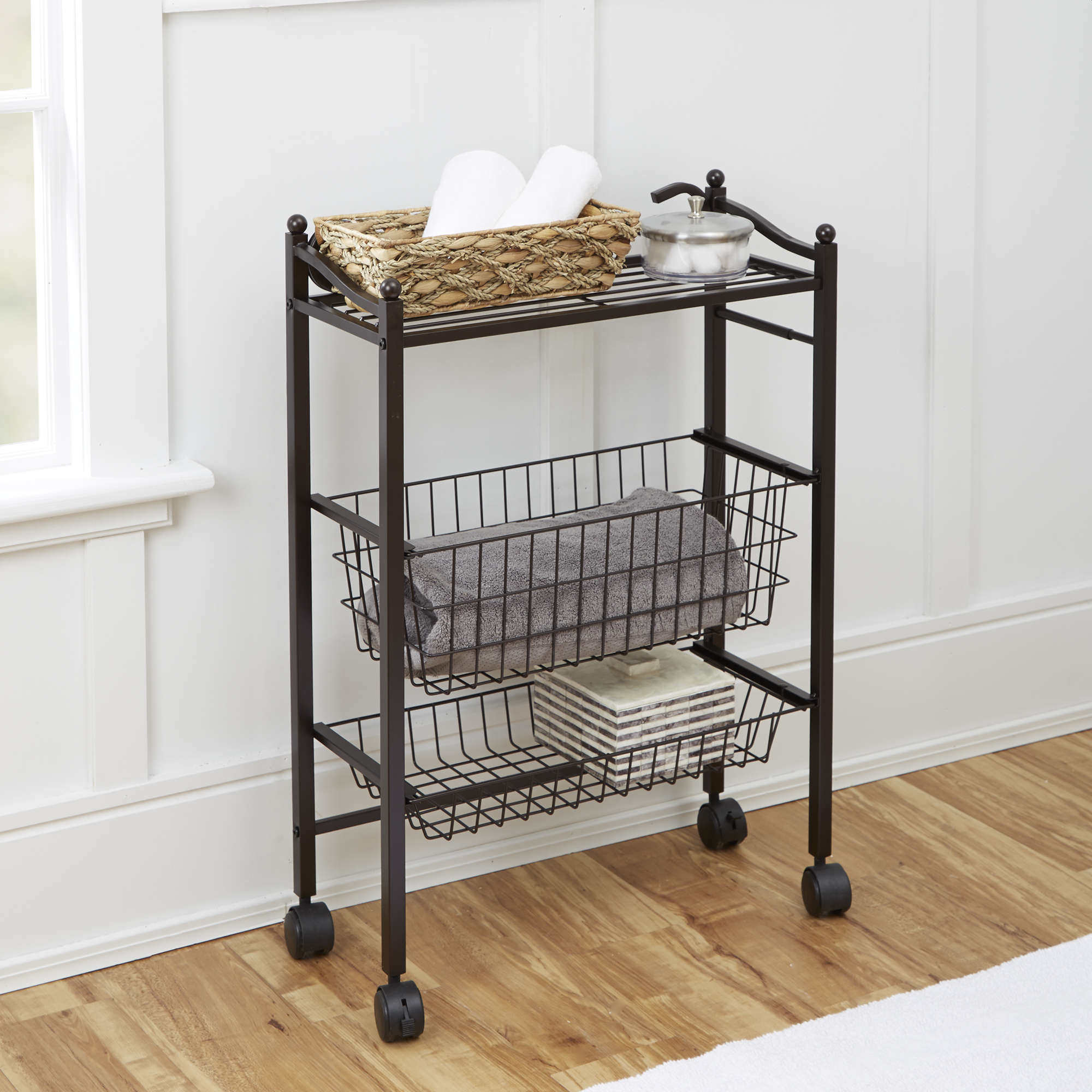 Chapter Bathroom Storage Cart with Top Shelf and Two Storage Baskets