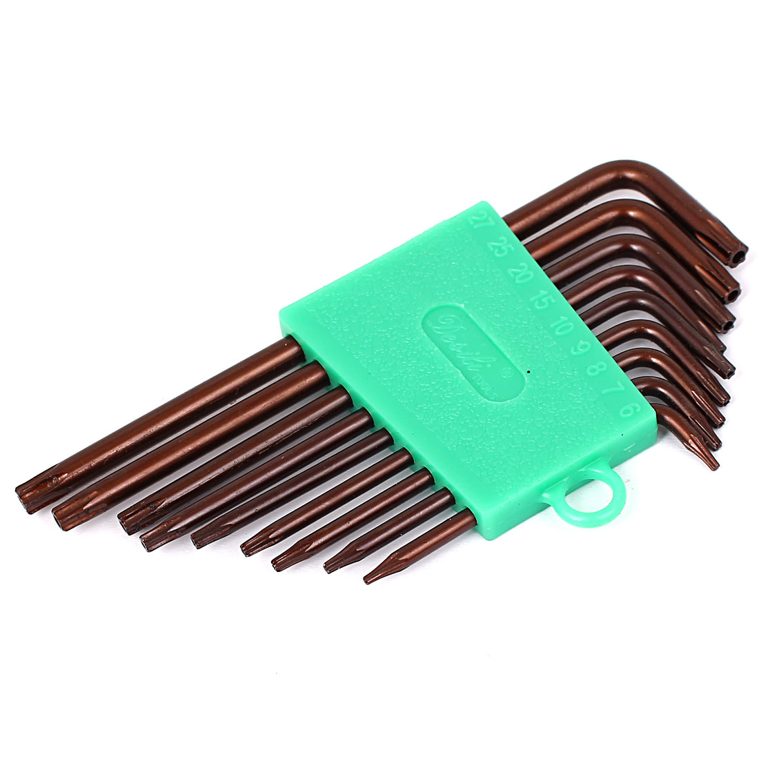Unique Bargains T6-T27 L Style S2 Security Torx Key Wrench Spanner Tools Brown 9 in 1