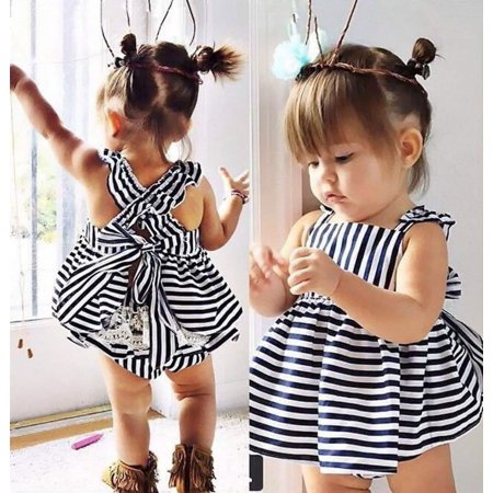 2016 Retail Summer Fashion Baby Girl Clothes 0 24M Cute Baby Girl Dress Sleeveless Striped Dress Shorts