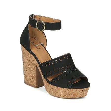 Chunky Cork Heels - Women Nuck Peep Toe Perforated Cork Platform Chunky Heel Sandal - 18145