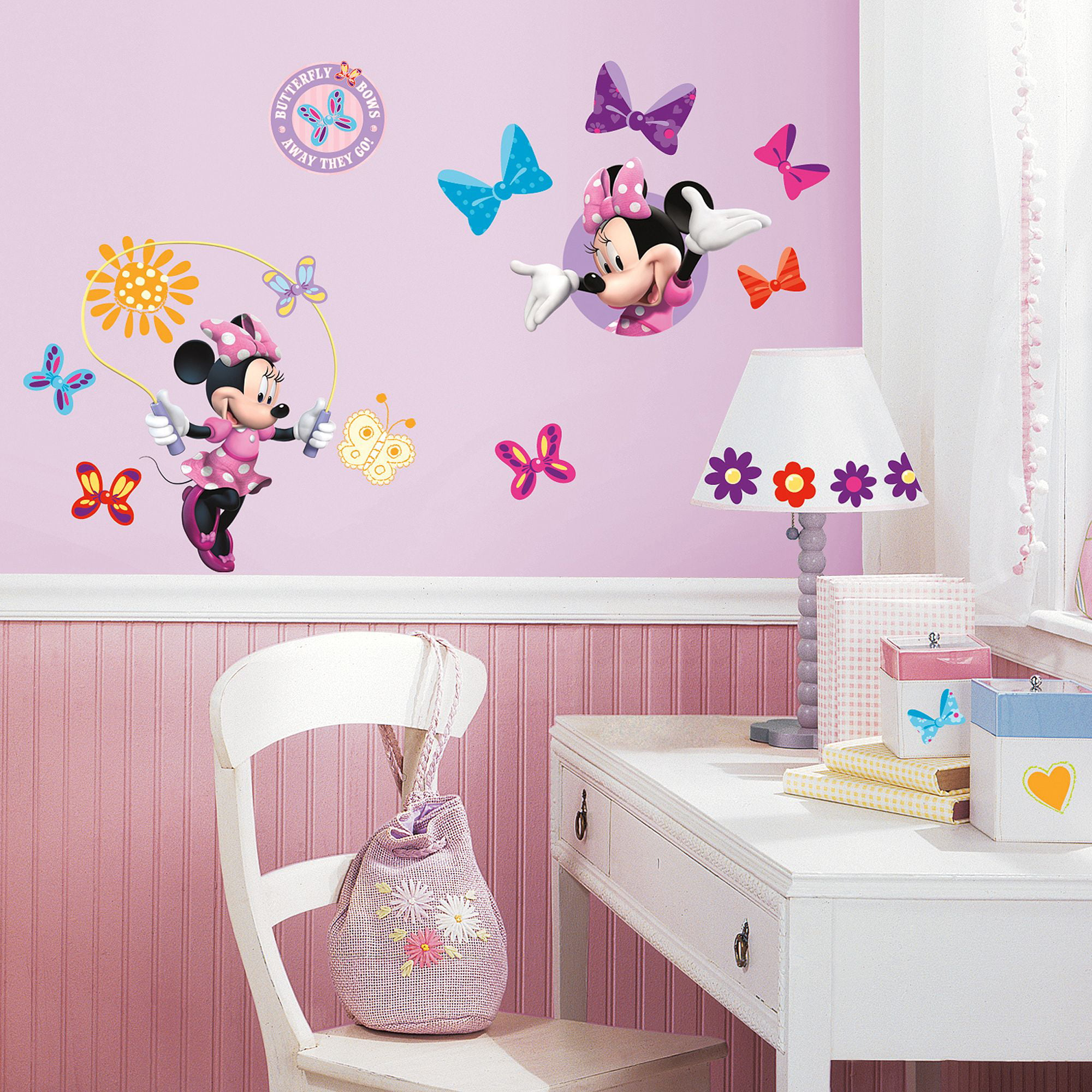 Kids room wall decor stickers - Roommates Mickey And Friends Minnie Bow Tique Peel And Stick Wall Decals Walmart Com