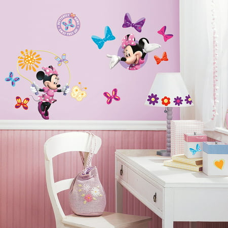 RoomMates Mickey and Friends Minnie Bow-Tique Peel-and-Stick Wall Decals - Tmnt Wall Decals