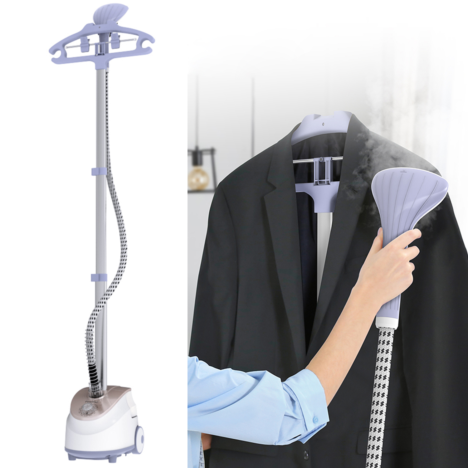 Hendheld 360 Degree Swivel Compact Garment Steamer for in home use, Hanger with 1.6 L water tank